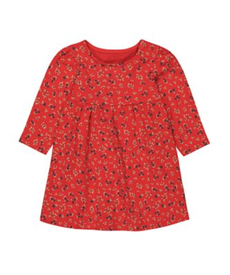 Mothercare Autumn Orchard Red Ditsy EPP Jersey Long Sleeve Dress