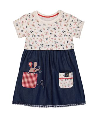 Mothercare Autumn Orchard Ditsy Denim Twofer Short Sleeve Dress