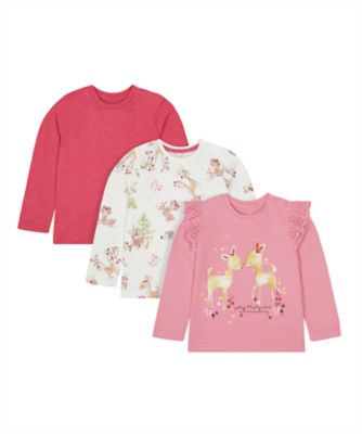 Mothercare Forest Pink And Printed T-Shirt - 3 Pack