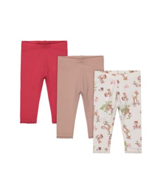 Mothercare Forest Allover Print, Oat And Pink Legging - 3 Pack