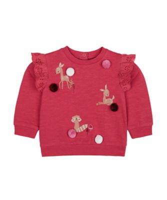 Mothercare Forest Pink Pom Loopback Sweater