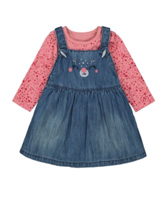 Mothercare Forest Denim Novelty Pinny Dress With Bodysuit Set