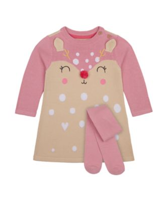 Mothercare Forest Novelty Intarsia Knit Long Sleeve Dress