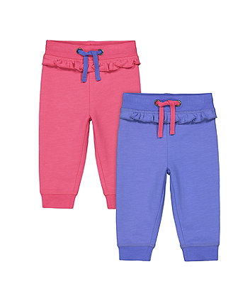 Mothercare Pink And Purple Frill Joggers - 2 Pack