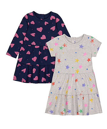 Mothercare Heart And Star Jersey Dresses - 2 Pack