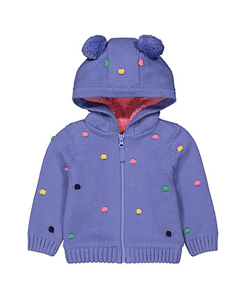 Mothercare Purple Spot Knitted Novelty Hoody