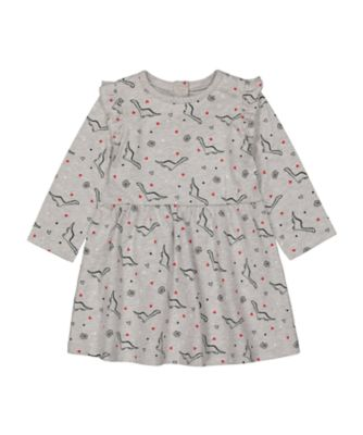 Mothercare Statement Grey Dinosaur Waisted Long Sleeve Dress