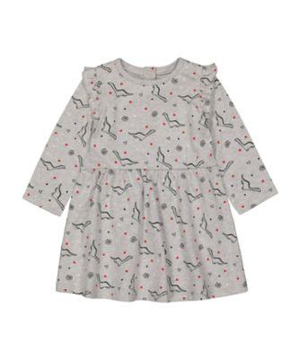 Mothercare Statement Grey Dinosaur Waisted Long Sleeve Dress
