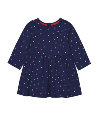 Mothercare Statement Blue Spot Waisted Long Sleeve Dress