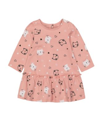 Mothercare Statement Flow Sd Pnk Cat Dropwaist Long Sleeve Dress