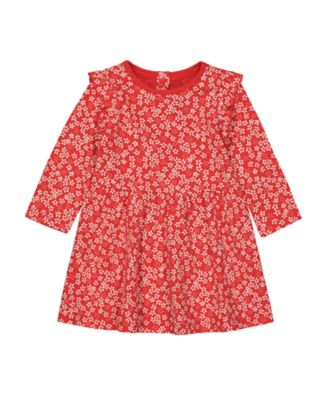 Mothercare Statement Red Floral Waisted Long Sleeve Dress