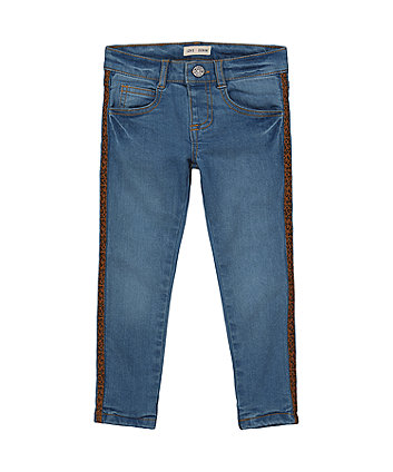Mothercare Leopard Side Tape Jersey-Lined Jeans - Mid Wash