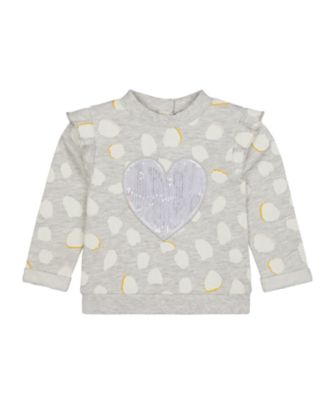 Mothercare Change Your Spots Grey Heart Loopback Sweater