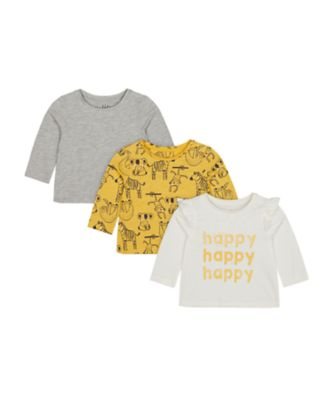 Mothercare Change Your Spots Happy Print, Grey And Mustard Long Sleeve T-Shirt - 3 Pack
