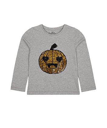 Mothercare Sequin Pumpkin Halloween T-Shirt