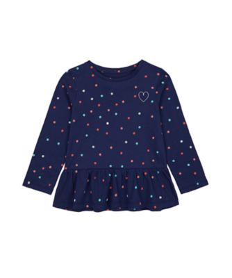 Mothercare Statement Flow Ts Navy Spotty Long Sleeve T-Shirt