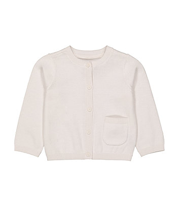 Mothercare White Pocket Cardigan