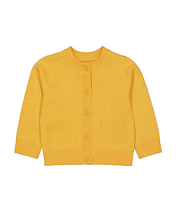 Mothercare Yellow Heart Cardigan
