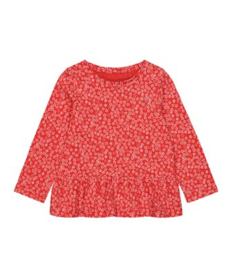 Mothercare Statement Flow Ts Red Ditsy Long Sleeve T-Shirt