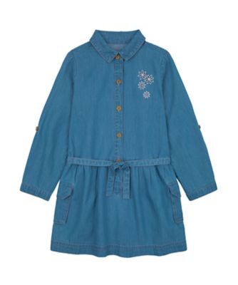 Mothercare Little Wanderer Denim Shirt Dress with Pearl