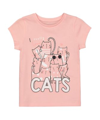 Mothercare Cool For Cats Pink Lots of Cats Uber T-Shirt