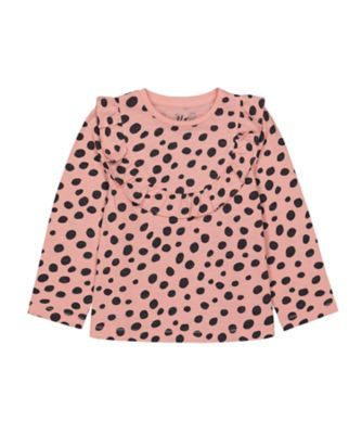 Mothercare Cool For Cats Pink Dotty Long Sleeve T-Shirt with Frill