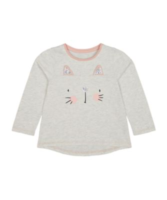 Mothercare Cool For Cats Grey Sequin Cat Long Sleeve T-Shirt