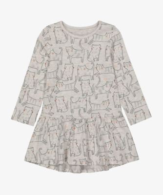 Mothercare Cool For Cats Grey Allover Print Drop Hem EPP Dress