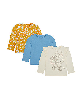 Mothercare Girl, Floral And Blue T-Shirts - 3 Pack