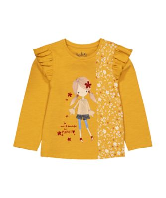 Mothercare Little Wanderer Mustard Cut And Sew Girl Long Sleeve T-Shirt