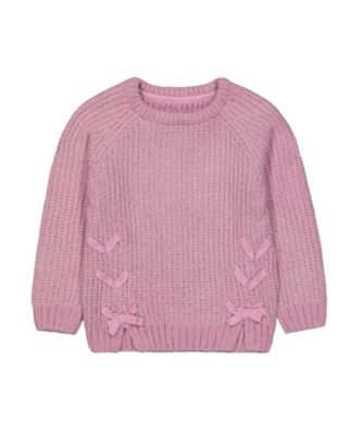 Mothercare Simplify Purple Knit Jumper with Ribbon Tie