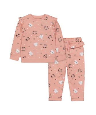 Mothercare Cool For Cats Pink Cat Brushback Jogger Set