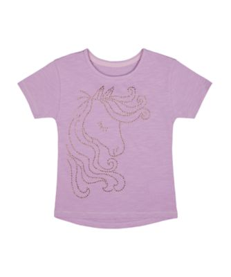 Mothercare Simplify Lilac Diamante Graphic Short Sleeve T-Shirt