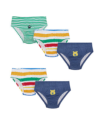 Mothercare Bear And Striped Briefs - 5 Pack