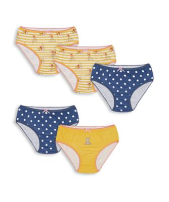Mothercare Girls Little Bunny Briefs - 5 Pack