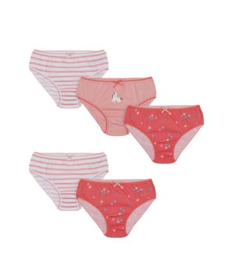 Mothercare Girls Party Horse And Stars Briefs - 5 Pack