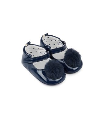 Mothercare Baby Girl Navy Pearl PU Bar Pram Shoe