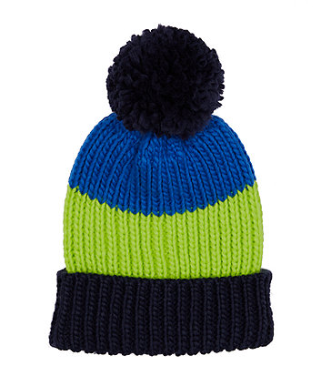 Mothercare Fashion Colour-Block Knitted Hat With Pom Pom