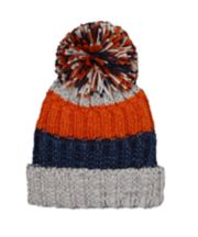 Mothercare Orange And Grey Knitted Hat With Pom Pom