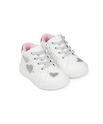 Mothercare First Walker Silver Heart Hi-Top Trainers
