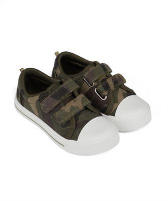 Mothercare Boys Camo Double Velcro Canvas Shoe