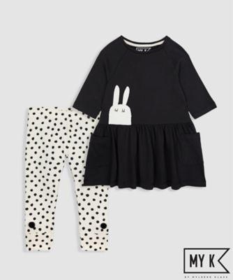 MY K Girls Graphic Tunic Dress And Legging Set