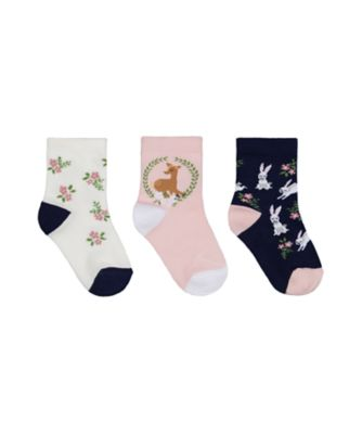 Mothercare Girls Deer Forest Socks - 3 Pack