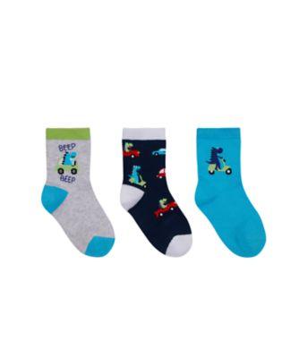 Mothercare Scooting Dinosaur Socks - 3 Pack