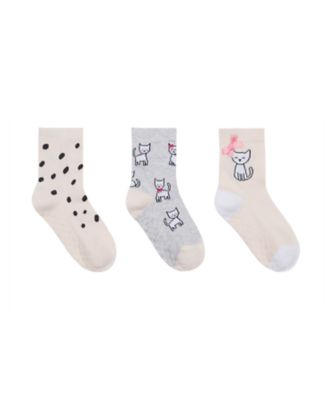 Mothercare Girls Cool Cat Slip Resistant Socks- 3 Pack