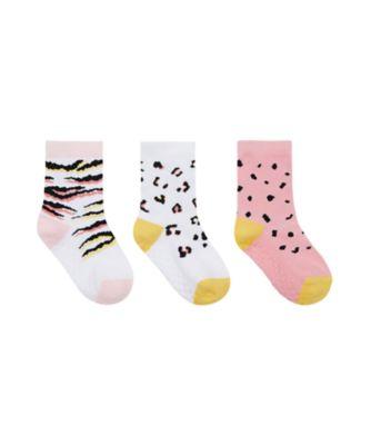 Mothercare Girls Animal Slip-Resistant Socks - 3 Pack