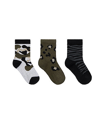 Mothercare Camouflage Explorer Socks - 3 Pack