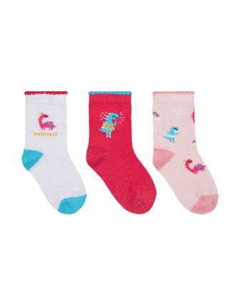 Mothercare Girls Ballet Dino Socks - 3 Pack