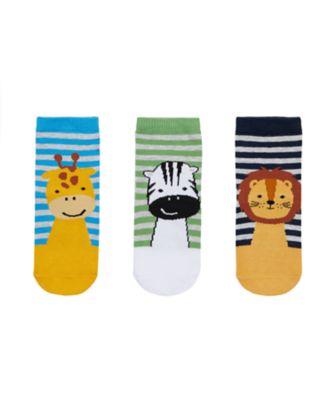 Mothercare Boy Animal Faces Slip Resistant Socks- 3 Pack