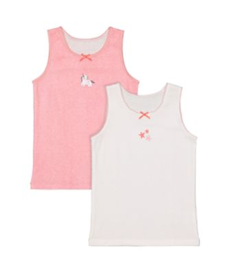 Mothercare Girls Party Horse Colour Vest - 2 Pack